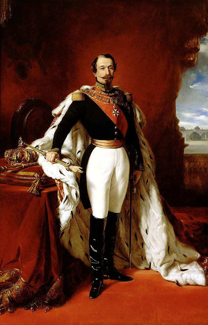 Napoleon III, keizer van Frankrijk, op een staatsieportret door Franz Xaver Winterhalter uit 1855.