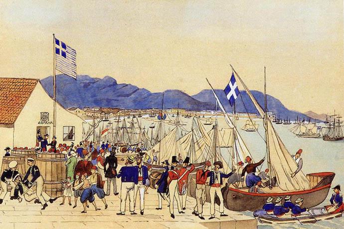 Piraeus, de haven van Athene, op een ingekleurde tekening van de Beierse kapitein Ludwig Köllnberger, uit 1837 [Publiek domein].