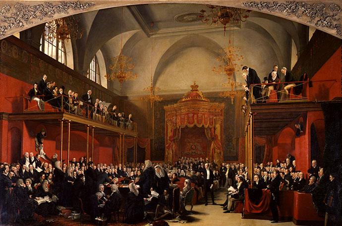 Het Britse House Of Lords in 1820, door hofschilder George Hayter [Publiek domein].