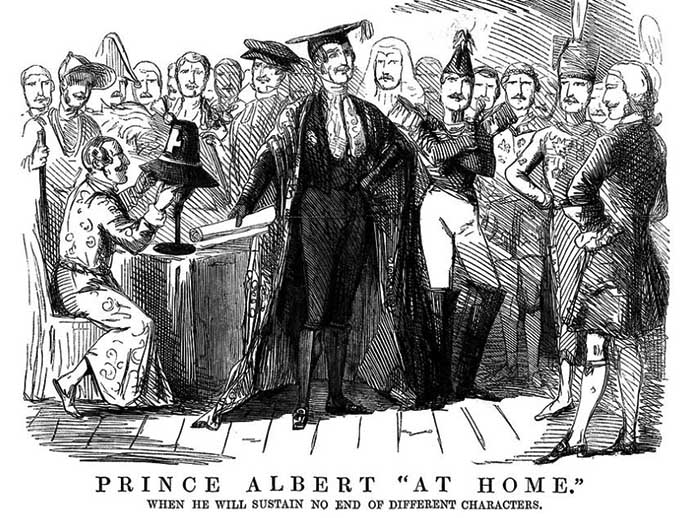 Prince Albert At Home, when he will sustain no end of different characters. Spotprent uit Punch.