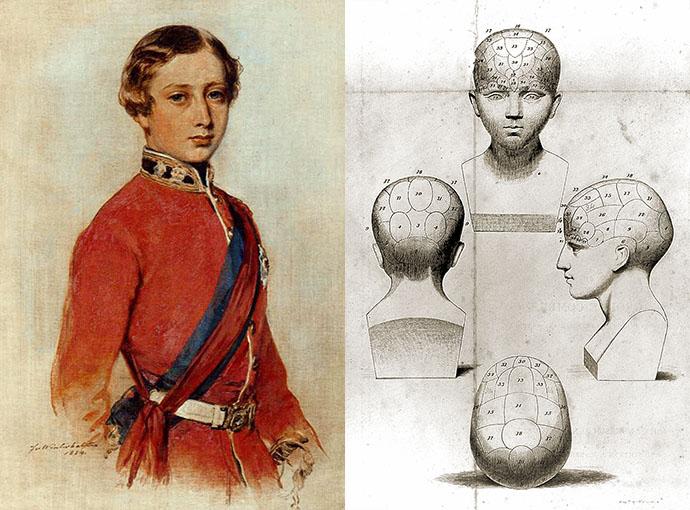 Links een kleurenschets van Prins Albert Edward door Franz Xaver Winterhalter uit 1859, als studie voor een groter schilderij. Rechts een detail van het titelblad van het handboek Elements of phrenology door George Combe, uit 1846.
