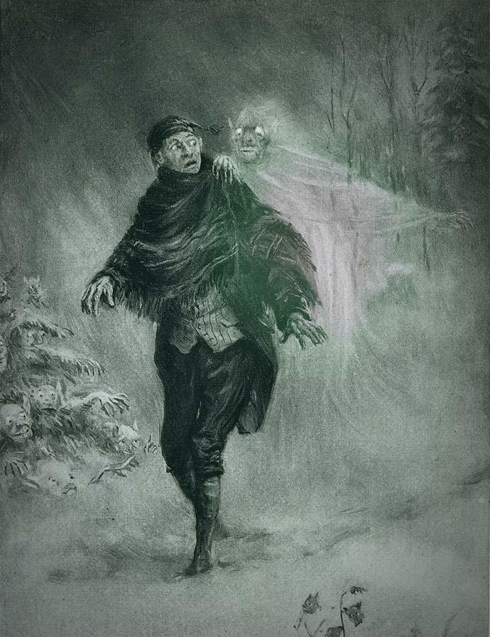 Afbeelding op het voorblad van The Legend Of Sleepy Hollow van Washington Irving (1899). Getekend door Frederick Simpson Coburn [Publiek domein].
