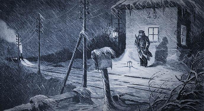 Een seinwachter, uit het Duitse Die Gartenlaube (1876) [Publiek domein].