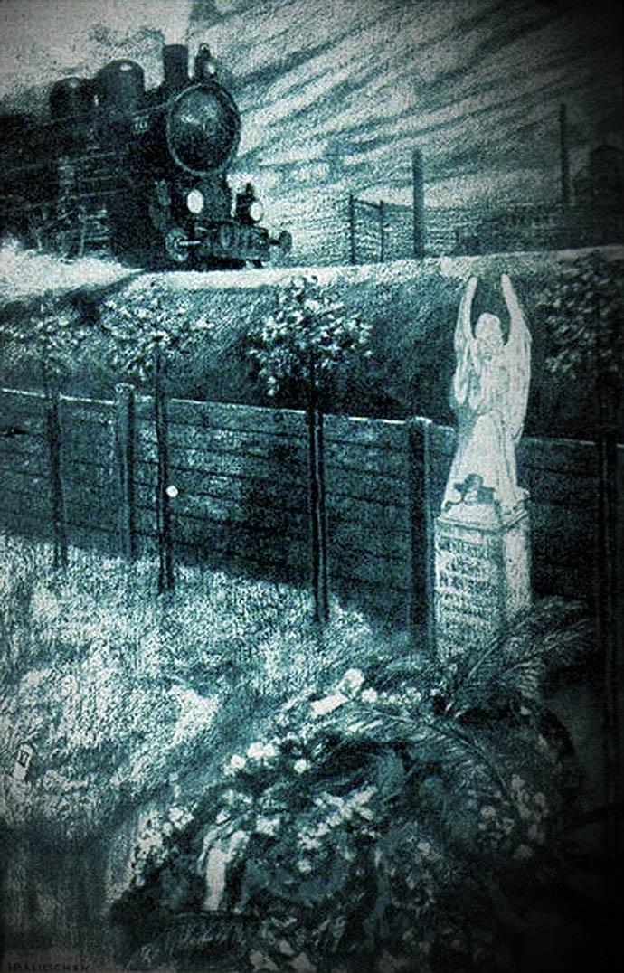 Een stoomtrein een klein grafmonument langs het spoor, op deze gravure door Hans Baluschek, in Die Gartenlaube [Publiek domein].