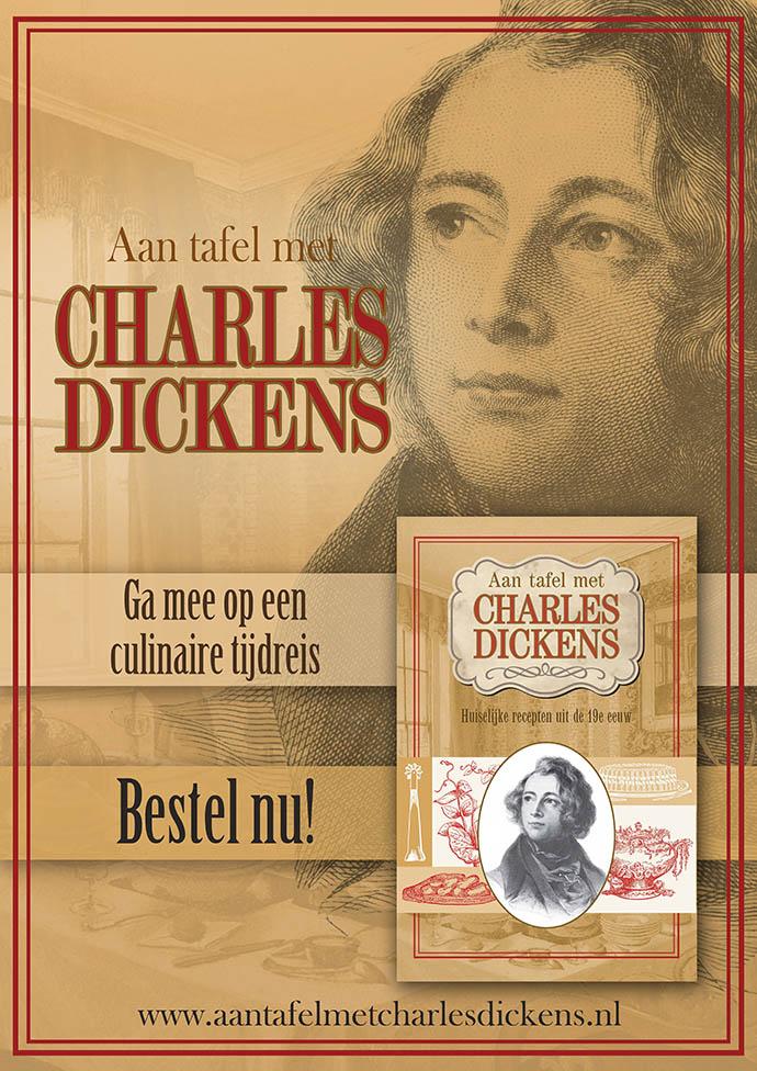 De promotieposter bij Aan tafel met Charles Dickens. Ontwerp door My inner Victorian.