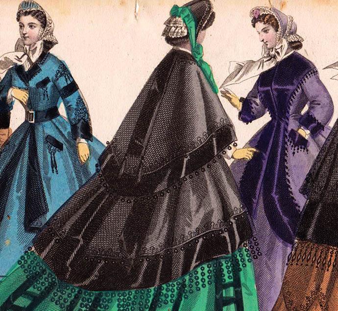 Modeplaat uit Aglaja, met felle kleurenstoffen victoriaanse mode 1864.
