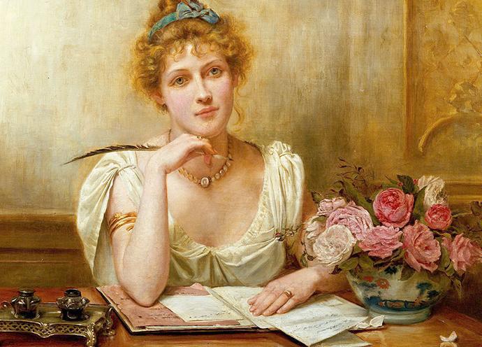 Penning a letter, door George Goodwin Kilburne (1839-1924) [Publiek domein].