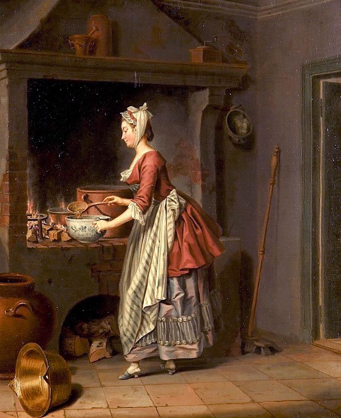 Een keukenmeid schept soep uit een ketel door Pehr Hilleström (1732-1816).