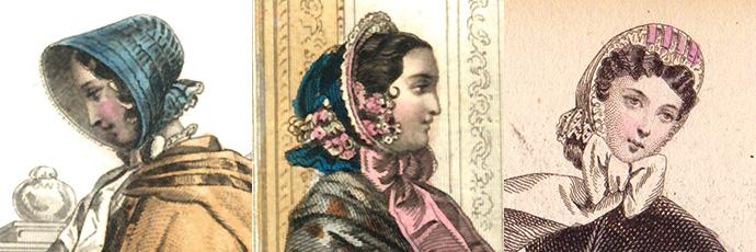 victoriaanse bonnets 1851-1854-1864.