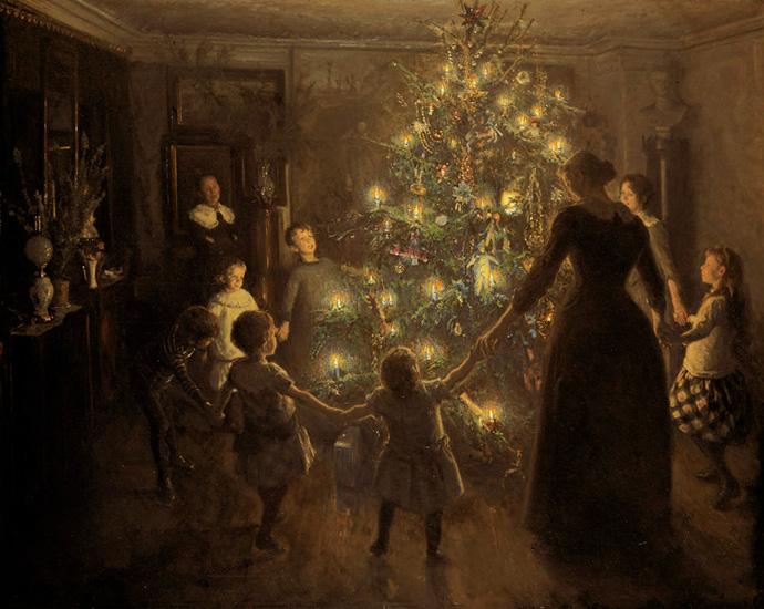 Stille nacht, door de Deense schilder Viggo Johansen (1851-1935) in 1891.