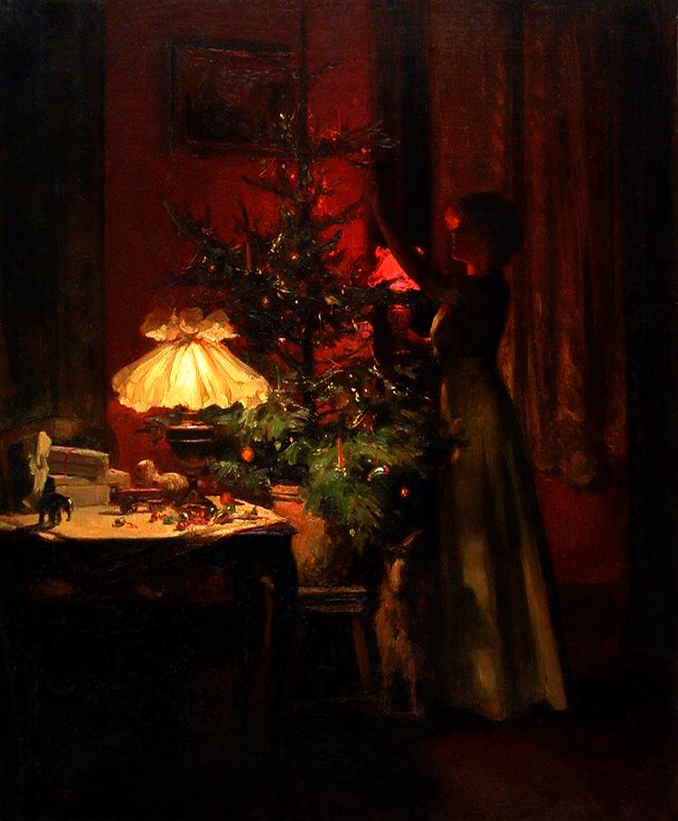 Decorating the Christmas tree, uit 1898, door de Franse schilder Marcel Rieder (1862-1942).
