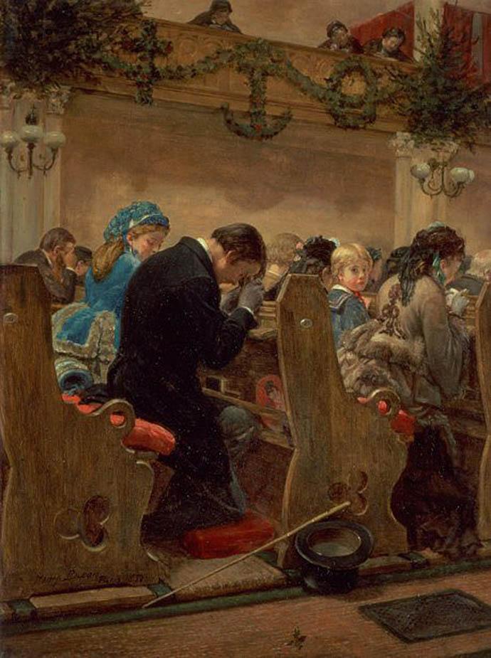 Christmas Prayers, uit 1872, door de Amerikaanse schilder Henry Bacon (1839-1912).