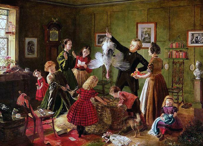 The Christmas Hamper, door Robert Braithwaite Martineau, (1826-1869).