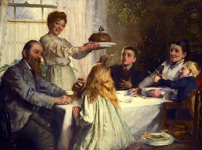 The Christmas Dole, uit 1902, door James Clark (1858-1943).