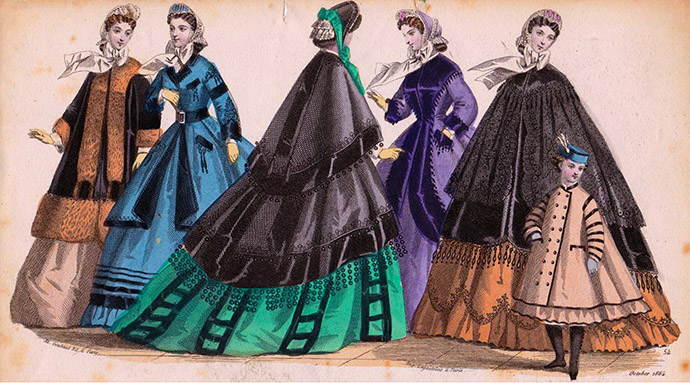Modeplaat uit Englishwoman's Domestic Magazine, oktober 1864. The newest fashions for autumn & winter mantles.