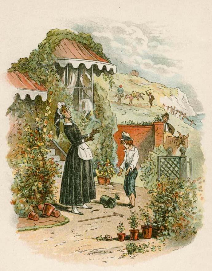 De verweesde David Copperfield stelt zich voor aan zijn tante, Betsey Trotwood. Illustratie bij Dickens' roman uit 1849-1850, door zijn vaste tekenaar Hablot Knight Browne (1815-1882) [Publiek domein].