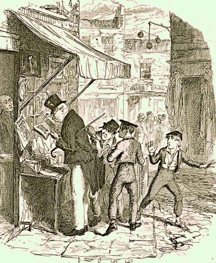 Mr. Brownlow wordt bestolen door Dodger, in Dickens' Oliver Twist, door George Cruikshank (1792-1878). [Publiek domein].