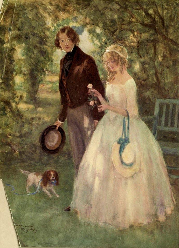 Een momentje samen. David Copperfield met zijn geliefde Dora Spenlow, Door Frank Reynolds in 1910. [Pubiek domein].