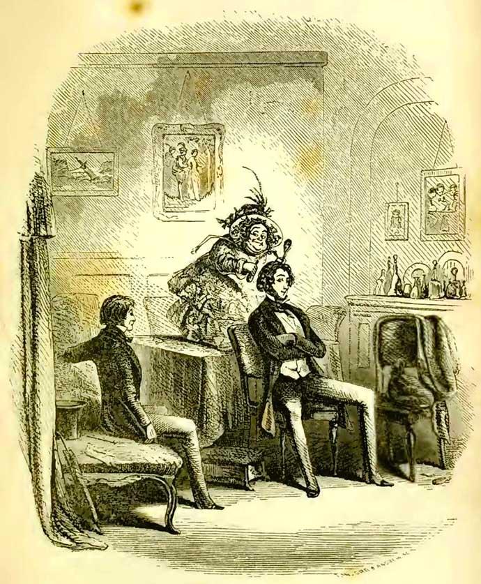 Miss Mowcher, afgebeeld door Hablot Knight Browne in 1850. [Publiek domein].