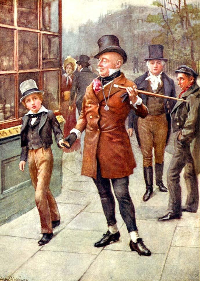 Mr. Micawber leidt David door de straten van de stad, Een prachtige afbeelding door Harold Copping (1863-1932). [Publiek domein].