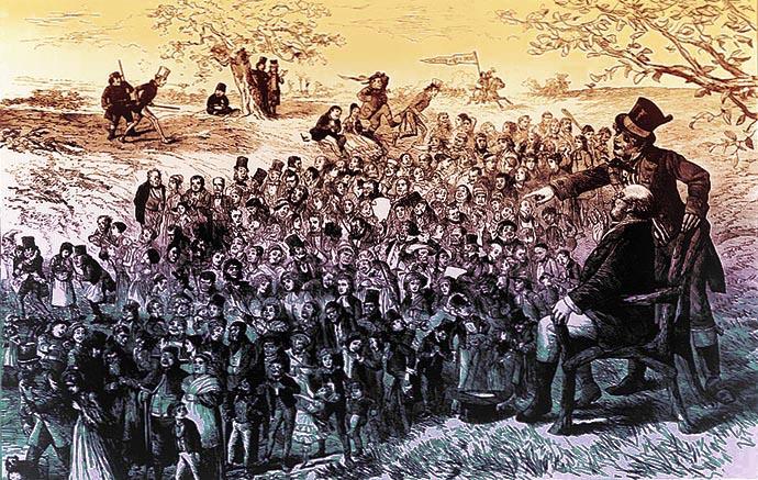 Mr. Pickwick en zijn bediende Sam Weller kijken uit over een landschap bevolkt door karakters uit de verhalen van Charles Dickens, op een 19e-eeuwse gravure. Kunstenaar onbekend. [Publiek domein]. Bewerking door My inner Victorian.