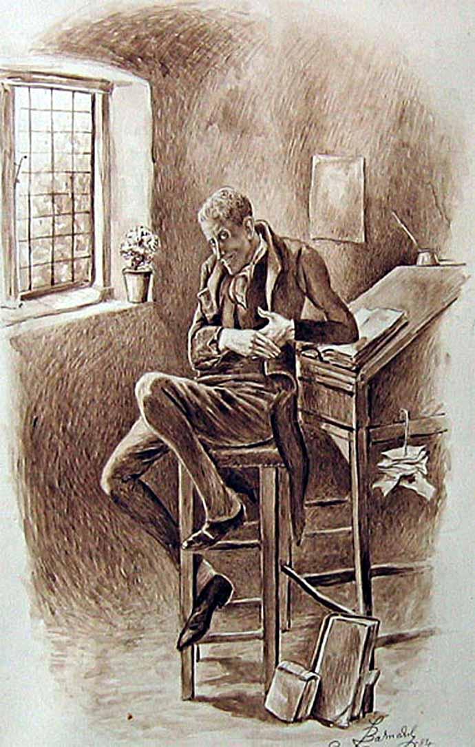 Uriah Heep, op een inkttekening uit de jaren 1870 door Fred Barnard [Publiek domein].