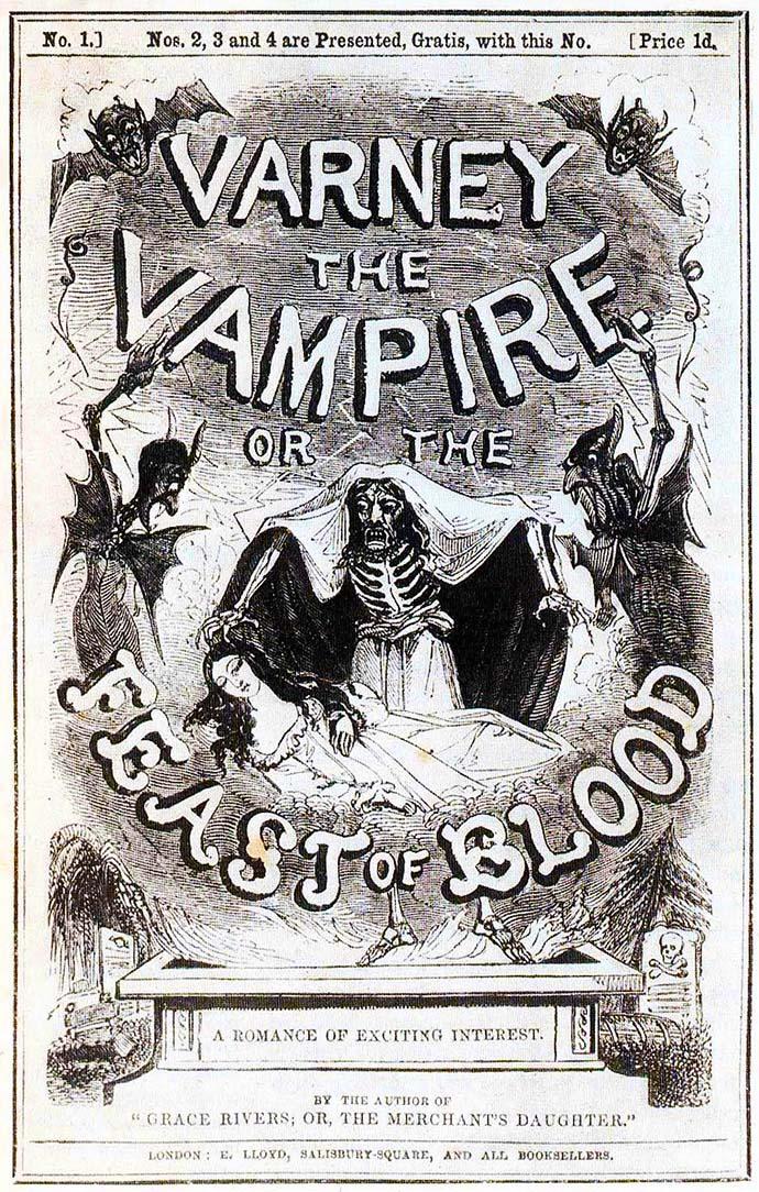 Voorblad bij een herdruk van de Victoriaanse penny dreadful-serie, Varney the Vampire (1845).