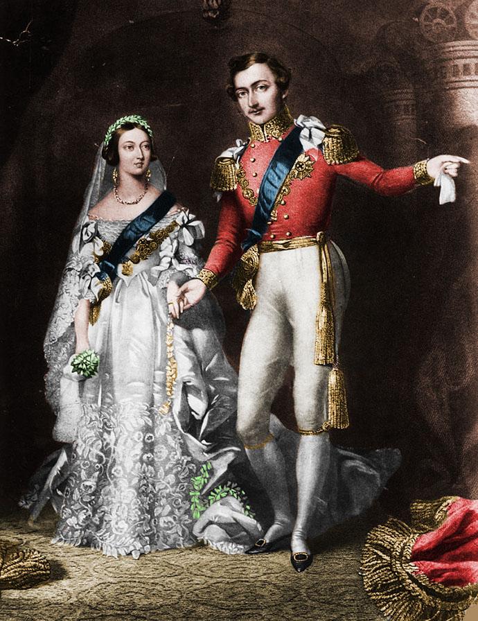 Victoria en Albert als bruidspaar, pas getrouwd