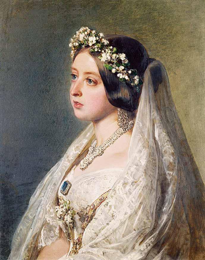 Koningin Victoria in haar bruidsjurk