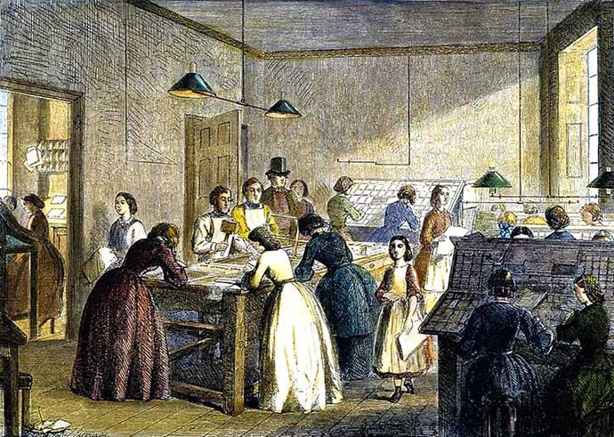 Een 19e-eeuwse drukkerij waar vrouwen aan het werk zijn met het zetten van drukletters.
