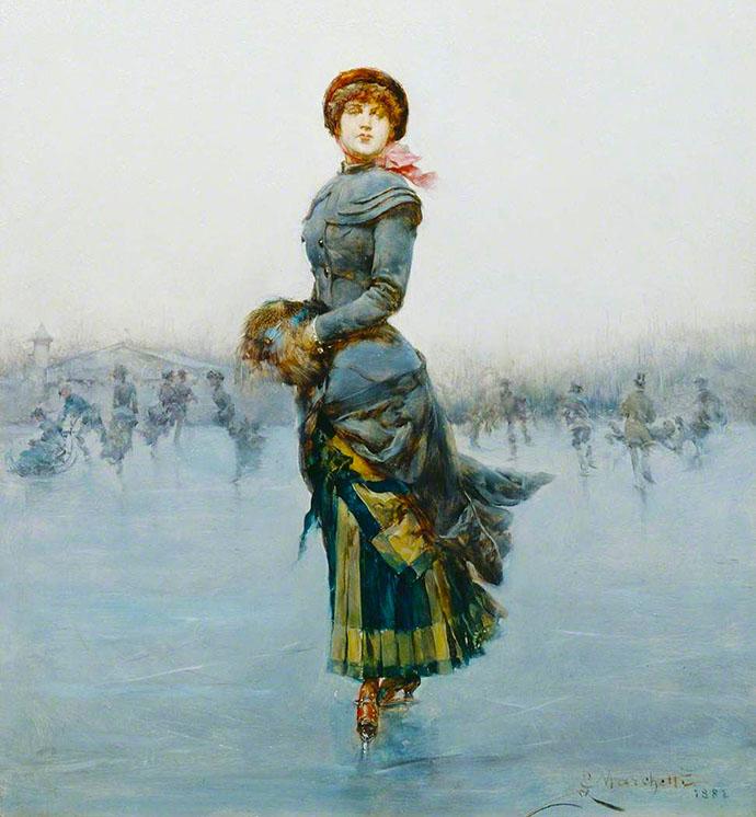 Victoriaanse schaatsende dame 1882