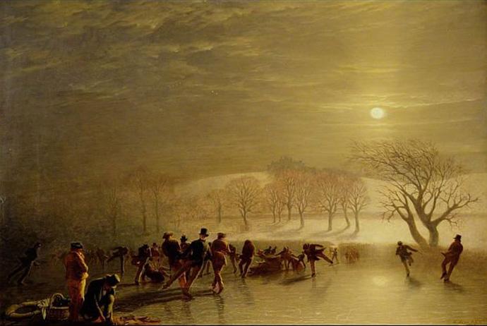 victoriaanse schaatsers, schilderij uit schotland