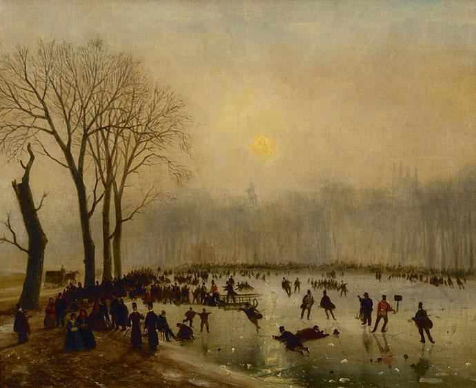schaatsen in de 19e eeuw Londen