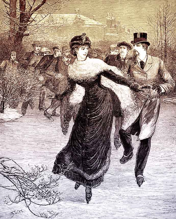 victoriaanse man en vrouw schaatsend