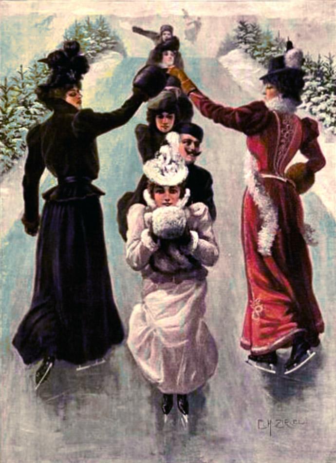 Schaatsende vrouwen 19e eeuw