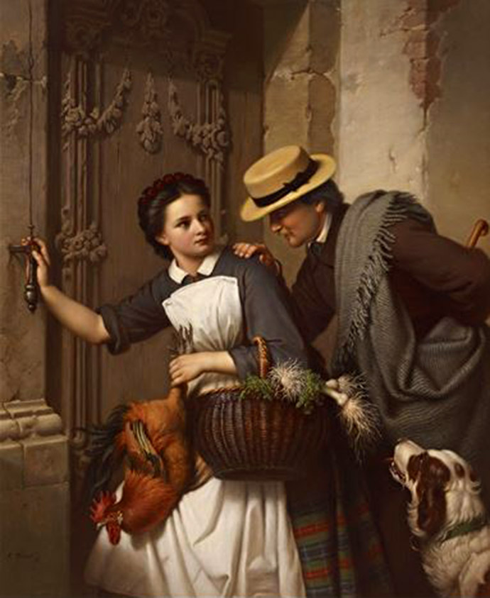 Schilderij The Cavalier and the Girl van de Duitse kunstenaar Ferdinand Minor (1814-1883) [Publiek domein].
