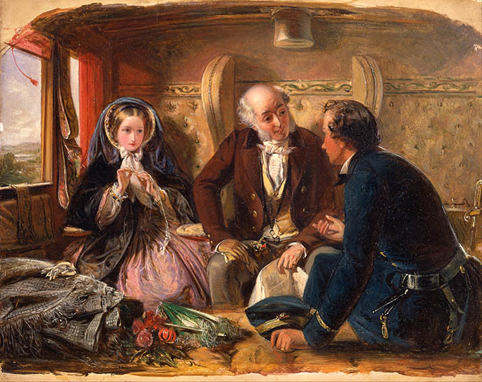 De herziene versie van het schilderij First Class Meeting, At First Meeting Loved, door de Britse kunstenaar Abraham Solomon (1823-1862) [Publiek domein].
