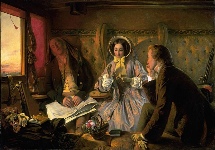 Eerste versie van het schilderij First Class Meeting, At First Meeting Loved, door de Britse kunstenaar Abraham Solomon (1823-1862) [Publiek domein].