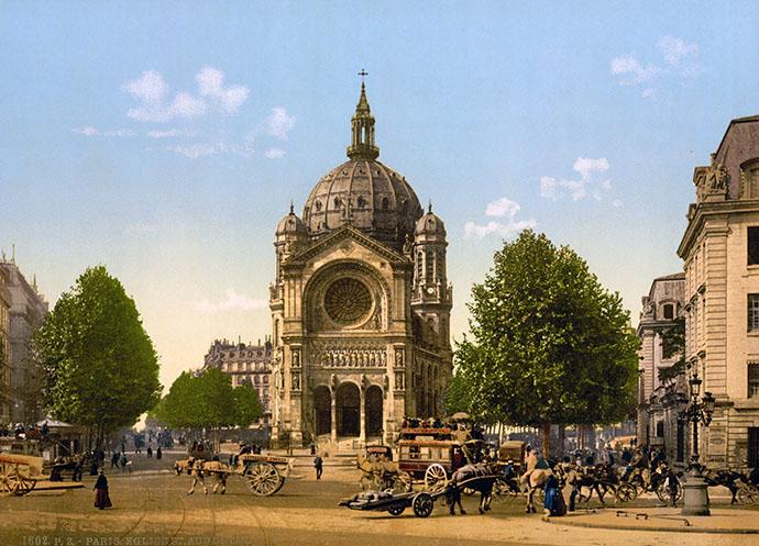 De église Saint-Augustin op een mooie zonnige dag, op een fotochroom genomen in de jaren 1890-1900.