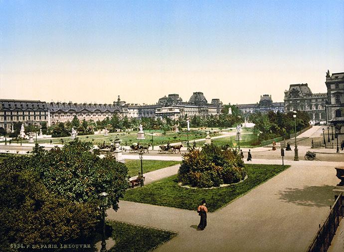 Fotochroom van het plein voor het Louvre in Pareis, 1890-1900 [Publiek domein].