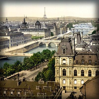 Uitzicht over de zeven bruggen van Parijs, fotochroom uit de periode 1890-1900.