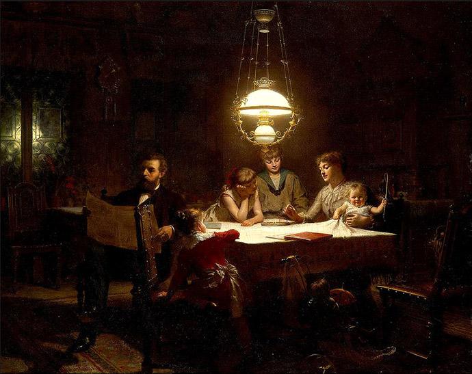 Schilderij met Victoriaans gezin door Knut Ekwall.