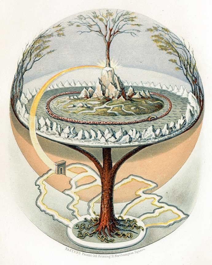 Yggdrasil, de wereldboom, door de Deense graveur Oluf Olufsen Bagge. Met de Romantiek van de 19e eeuw ontstaat er naast de christeliYggdrasil, de wereldboom, door de Deense graveur Oluf Olufsen Bagge, uit 1847. [Publiek domein].