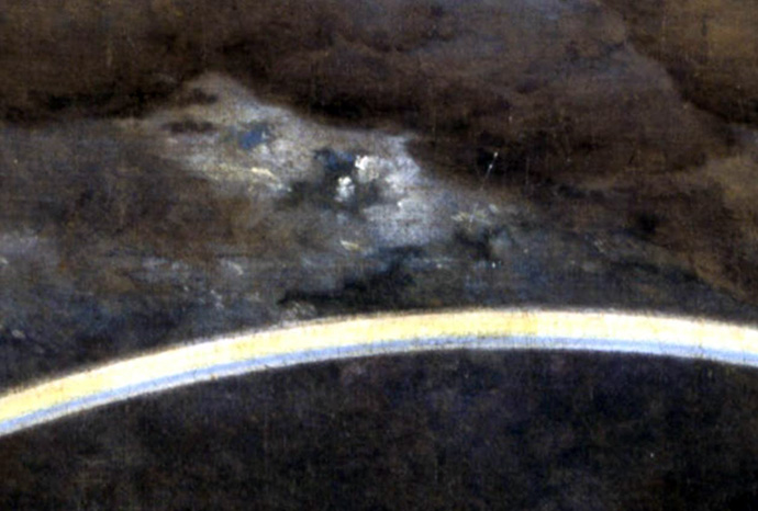 Detail uit Landschap met regenboog, door Caspar David Friedrich (1774-1840). [Publiek domein].