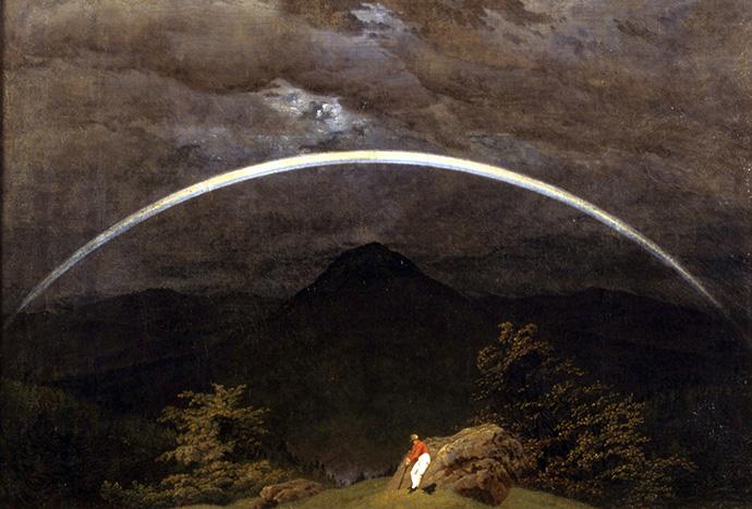 Landschap met Regenboog, door Caspar David Friedrich (1809-1810).