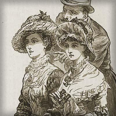 Victoriaanse vrouwen bij paardenraces