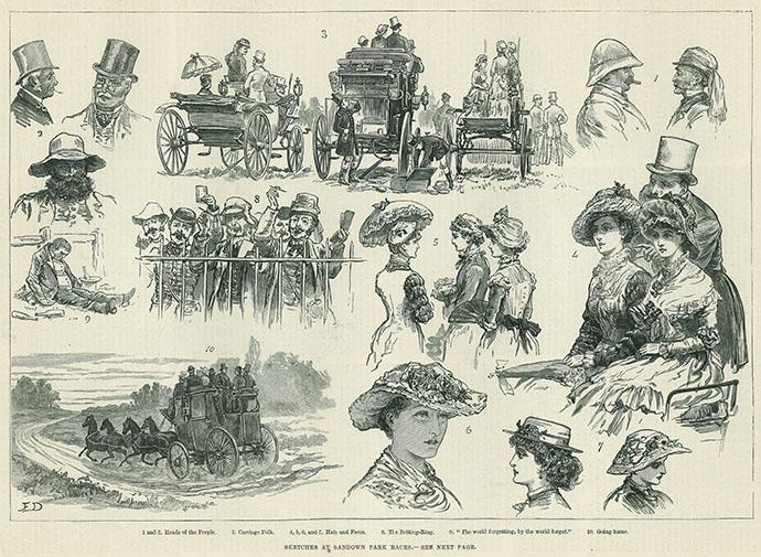 Sandown Park Races 1881 sketches