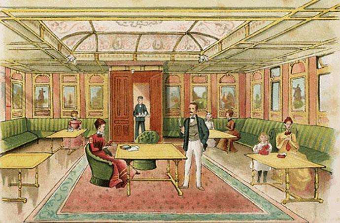 interieur 1e klasse stoomboot rond 1900