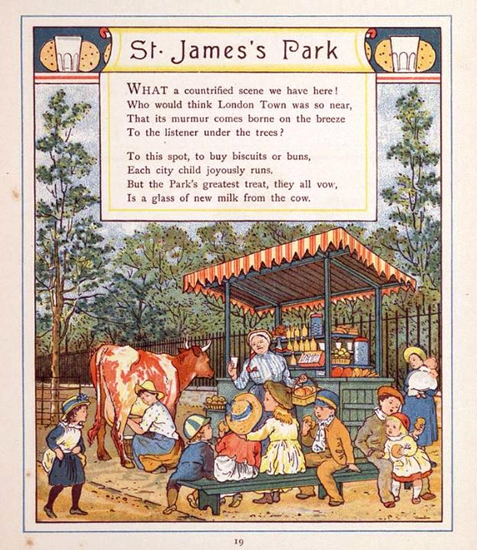 St. James's Park Londen 1883 with cows