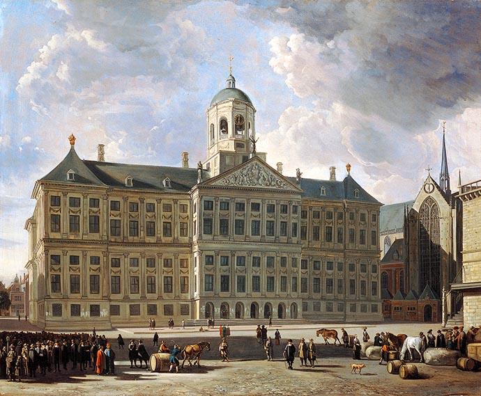 Het latere Koninklijk Paleis op de Dam, als het stadhuis van Amsterdam rond 1670, op een schilderij door Gerrit Adriaenszoon Berckheyde (1638-1698). [Publiek domein].